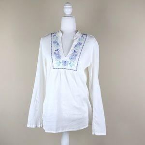ATHLETA | Cotton Embroidered Bird Tunic White Top